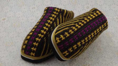 【手工织品视频教学】民族风手工毛线棉鞋毛线拖鞋详细视频教程