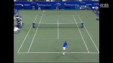 2004美国网球公开赛男单QF 费德勒VS阿加西 (自制HL)