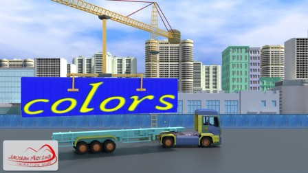 Learn Colors For Kids Children Toddlers with Semi-Trailer Truck and Crane
