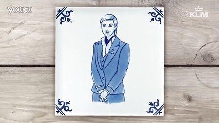 荷兰皇家航空的客舱安全视频,使用代尔夫特瓷的定格动画