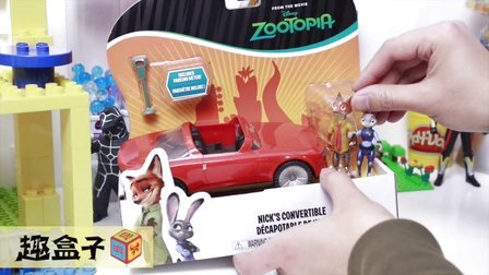 疯狂动物城 尼克Nick的红色敞篷跑车 情景玩具 试玩