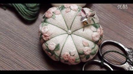 冬小麦欧式立体刺绣:花环针插