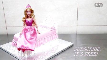 DIY美食:如何制作一个公主芭比娃娃床的生日蛋糕