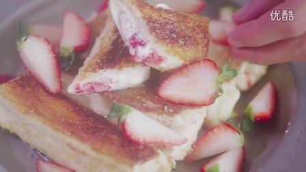 早餐|草莓奶酪法式吐司卷,好吃到爆!