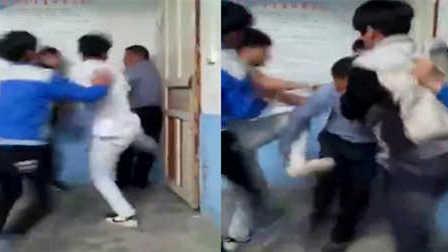 震惊 实拍中学生群殴老师逼死角拿板凳砸