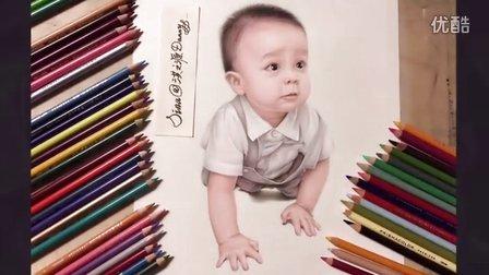 原创彩色铅笔手绘可爱的宝宝