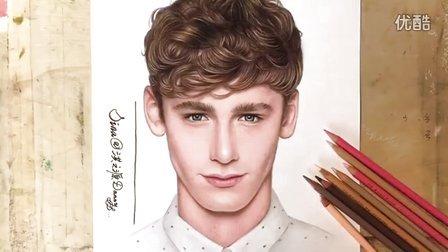 原创彩色铅笔手绘欧美帅哥男模