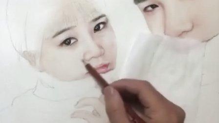 亲松画的 写实水彩彩铅铅笔素描人物画像过程视频教程-壹
