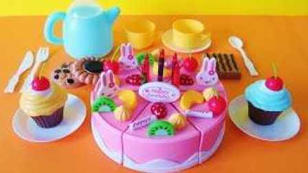 玩具生日水果蛋糕 玩具蛋糕 玩具饼干 茶会 水果忍者 魔术贴玩具