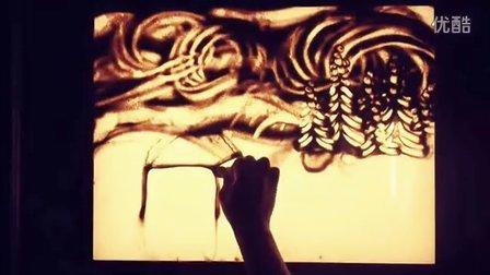 外籍沙画作品《圣诞之夜》