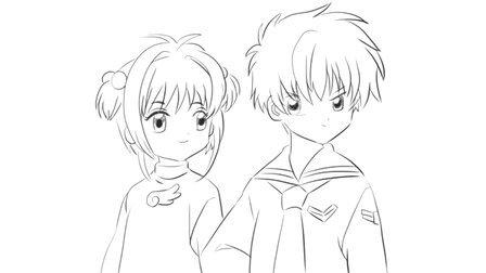 儿童绘画动画片《少女樱》中的小狼与小樱卡通动漫简笔画教程