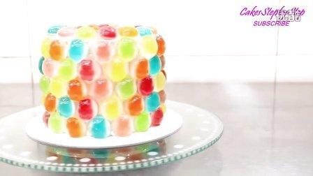 如何制作彩虹般的橡皮糖生日蛋糕