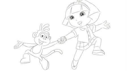 [小林简笔画]绘画动画片《爱冒险的朵拉》中的朵拉与猴子跳舞卡通动漫亲子简笔画
