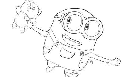 [小林简笔画]绘画电影《神偷奶爸》中的可爱小黄人卡通简笔画教程