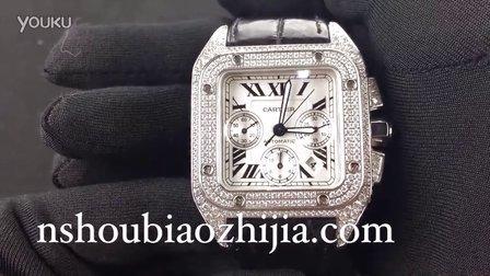 手表之家 CARTIER卡地亚桑托斯SANTOS100系列 奢华满钻计时男士腕表