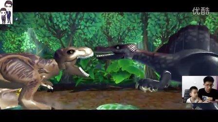 乐高侏罗纪世界手机版第18期:第7章棘龙逃脱、棘龙对霸王龙和坠机地点★恐龙积木玩具游戏