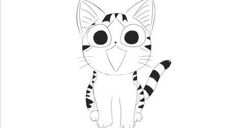 [小林简笔画]绘画儿童亲子动画片《甜甜私房猫》中可爱的小起猫卡通动漫简笔画教程