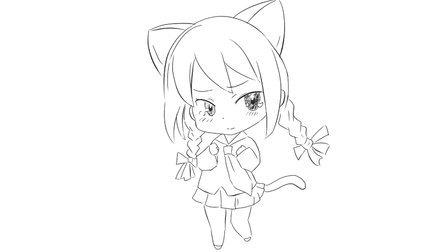 [小林简笔画]绘画亲子早教儿童简笔画中的超萌的Q版卡通猫娘女孩卡通动漫简笔画教程