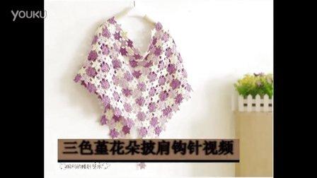 三色堇花朵披肩钩针视频毛线简易织法