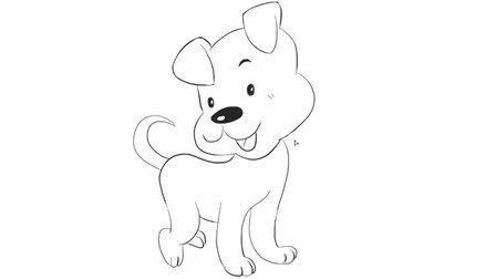 [小林简笔画]绘画儿童早教亲子简笔画中可爱的卡通狗动漫简笔画教程