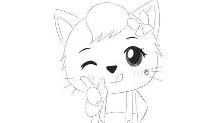 [小林简笔画]绘画儿童早教亲子简笔画中可爱的妮妮猫小猫咪卡通动漫简笔画教程