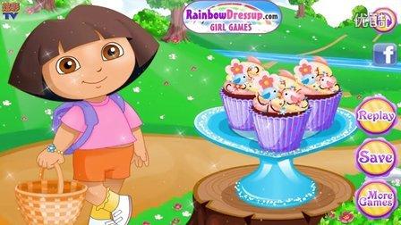 【爱探险的多拉历险记】朵拉制作纸杯蛋糕 亲子小游戏解说