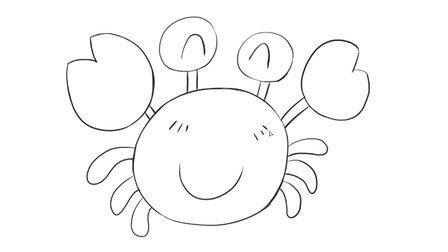 [小林简笔画]如何绘画儿童早教亲子简笔画可爱的小螃蟹卡通动漫简笔画教程