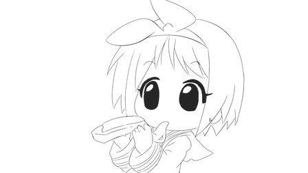 [小林简笔画]如何绘画Q版可爱的小女孩吃早餐面包卡通动漫简笔画教程