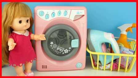 全自動洗衣機玩具小豬佩奇艾莎公主娃娃洗衣服芭比娃娃愛探險的朵拉迪士尼過家家親子游戲視頻