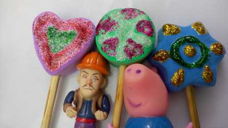 粉红小猪和熊出没用超亲粘土制作棒棒糖