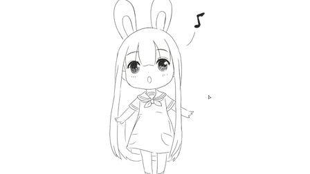 [小林简笔画]如何绘画可爱超萌的兔子小女孩唱歌卡通动漫简笔画教程