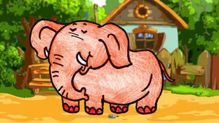 画一头大象,儿童卡通画动物简笔画