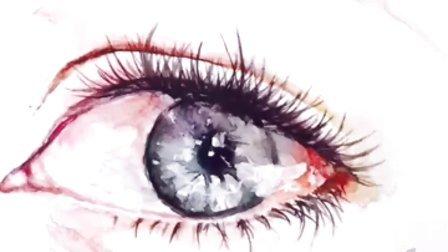 手绘水彩人像超写实人物手绘眼睛
