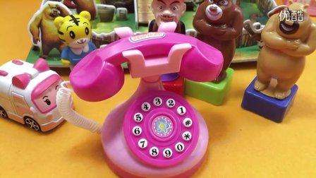 变形警车珀利 救护车安巴 巧虎 打电话给 熊出没 光头强 熊大熊二 过家家玩具 迷你家电