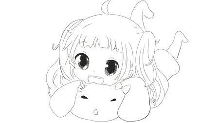 [小林简笔画]如何绘画趴在可爱兔子抱枕的可爱小女孩动漫卡通动漫简笔画教程