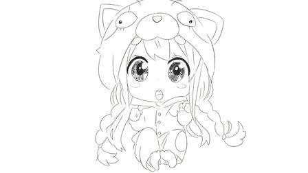 [小林简笔画]如何绘画穿着可爱动物睡衣的萌萌小女孩卡通简笔画教程