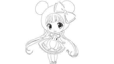 [小林简笔画]如何绘画可爱的二次元Q版卡通女生卖萌卡通动漫简笔画教程