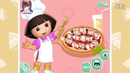 [爱探险的朵拉游戏动画片]朵拉做披萨 朵拉披萨制作 披萨女孩游戏