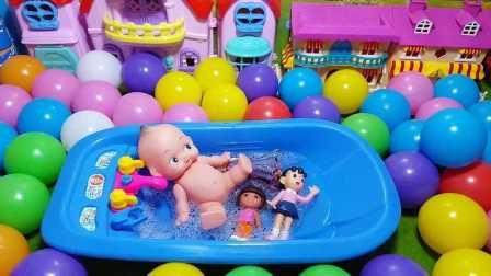 小猪佩奇洗澡澡 宝宝洗澡玩具 海绵宝宝洗白白 爱探险的朵拉玩过家家玩具