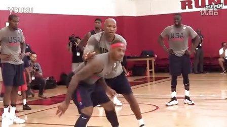美国男篮集训,KD甜瓜秀背打技术