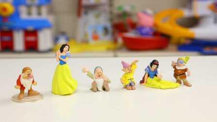 白雪公主 七个小矮人 迪士尼微缩世界 6只公仔开箱