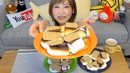 【木下大胃王】看相一般吃起来也麻烦的家用饼干夹烤棉花糖机 @柚子木字幕组