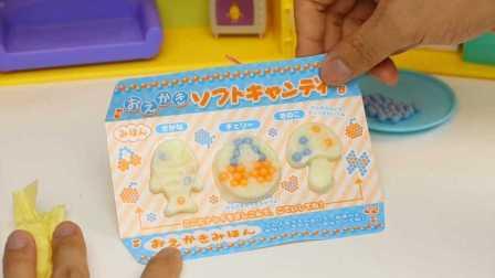 日本食玩 动物彩珠绘画 diy自制软糖 玩具试玩