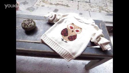 猫头鹰男孩插肩第三集织图案反面不拉线演示编织方法视频