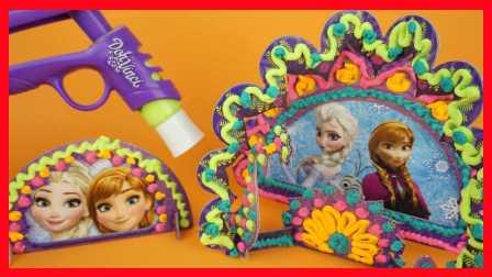 冰雪奇缘美国3D雕刻玩具!培乐多多芬奇相框DIY,安娜艾莎芭比娃娃手工视频