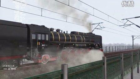 火车视频-双机前进牵引22B前往沙湾县