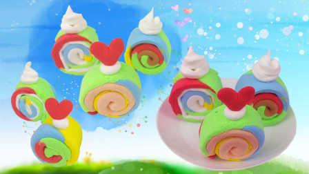 创意食玩DIY奥运五彩蛋糕卷 花园宝宝手工制作玩具游戏视频教程