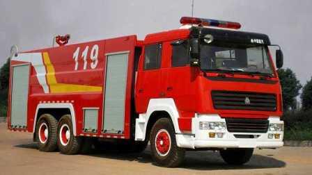 119消防車 120救護車 110警車 模擬機場飛機起火滅火救援任務 01