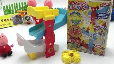 小猪佩奇超级飞侠玩转面包超人日本食玩叠叠乐玩具