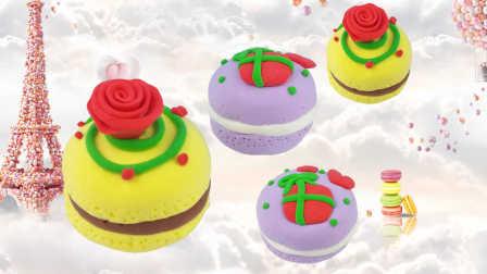 面包超人DIY玫瑰马卡龙蛋糕食玩 超轻粘土手工制作美食玩具游戏教程